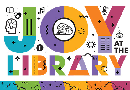 joy at the library graphic