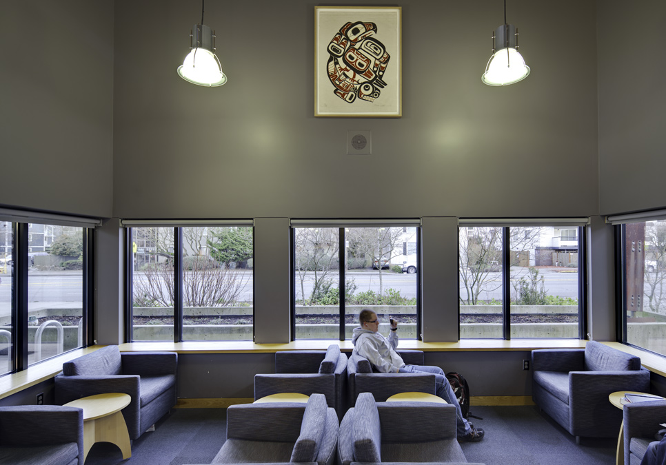 Library patron in seating area at the Broadview Branch