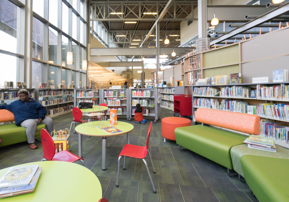 Library patron in children's area at the Greenwood Branch