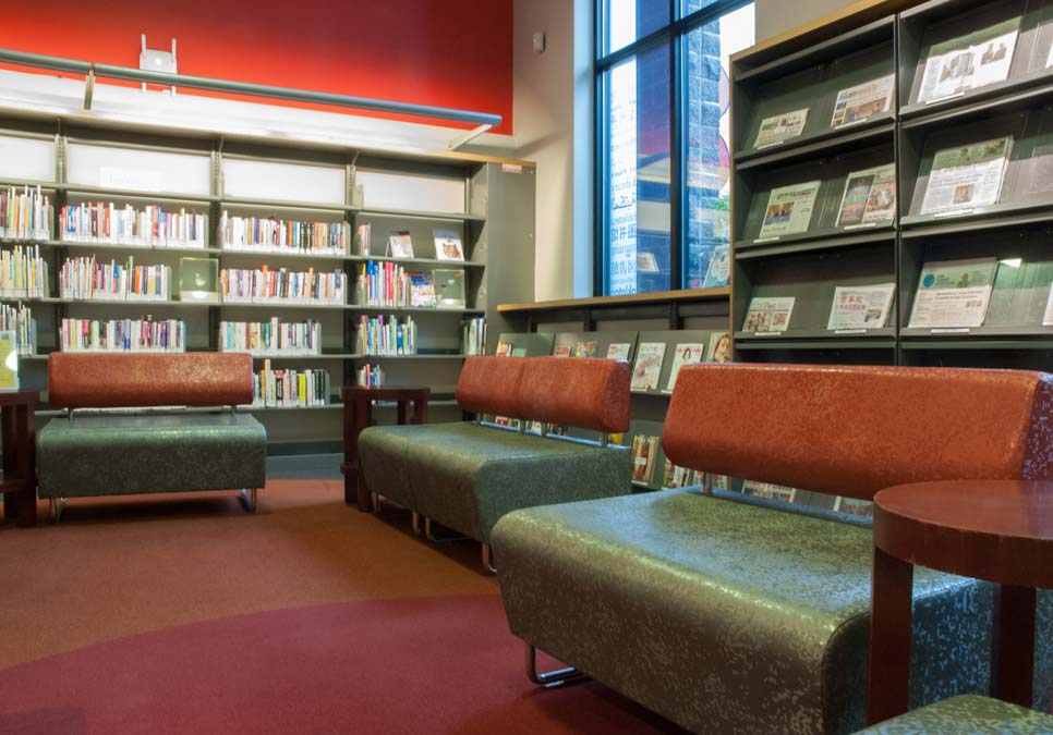 Library patron seating area at the International District/Chinatown Branch