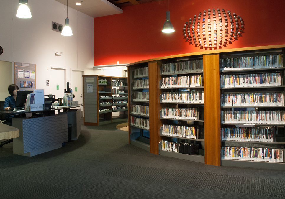 An interior view of the International District/Chinatown Branch
