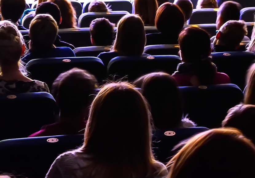 movie goers at a theater