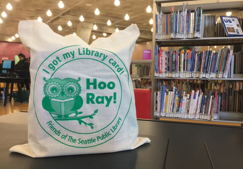 my first library card tote