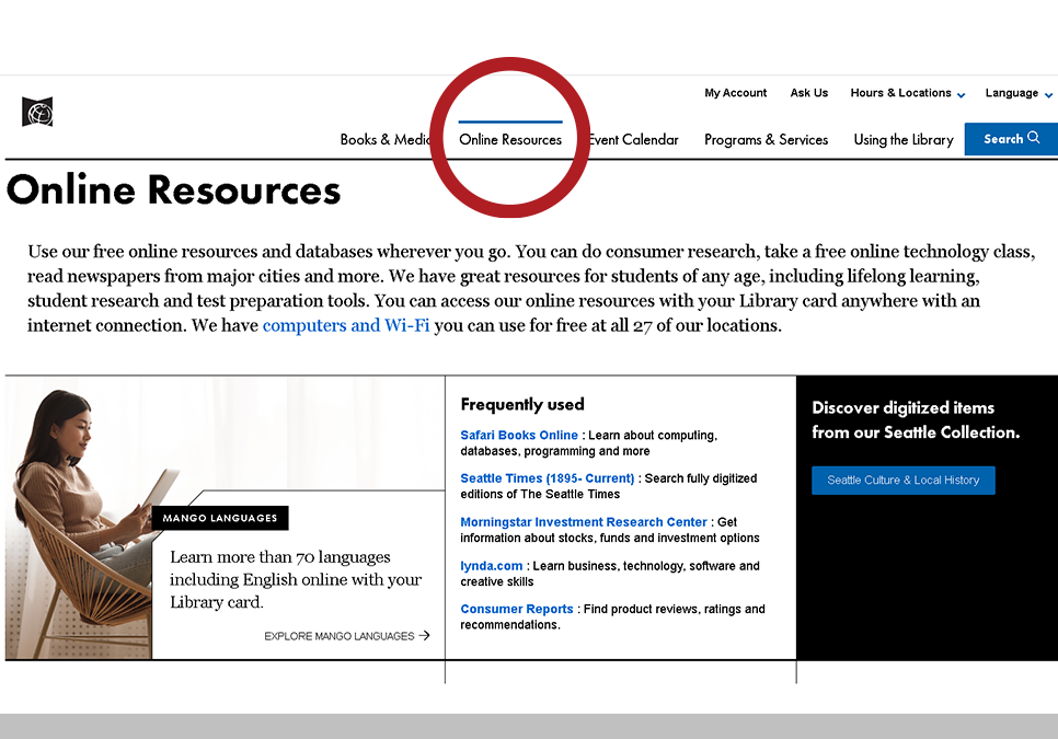 screen shot of the online resources page on spl.org