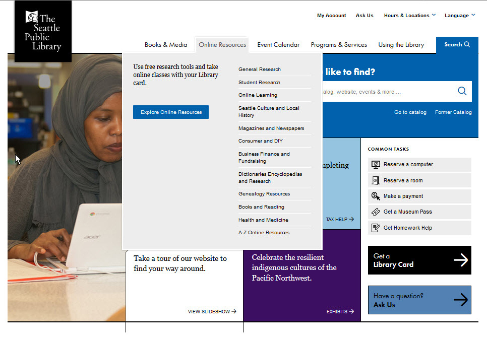 screen shot of main navigation on spl.org with online resources selected