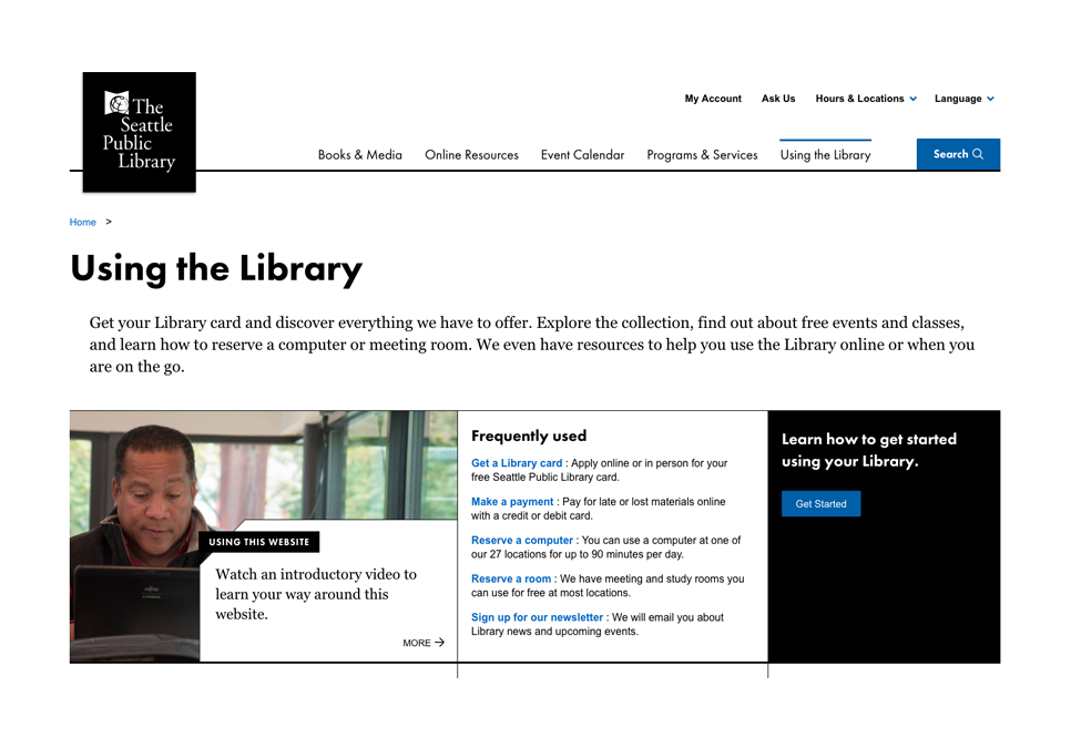 screen shot of the using the library page on spl.org